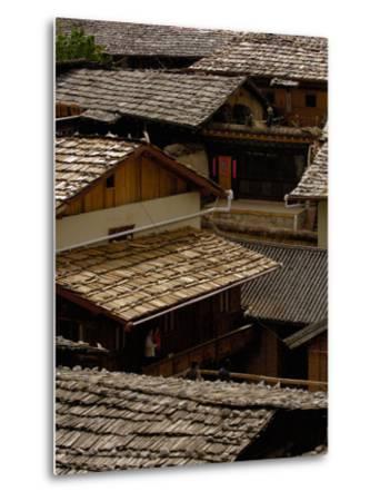 Tibetan House Rooves, Zhongdian, Deqin Tibetan Autonomous Prefecture, Yunnan Province, China-Pete Oxford-Metal Print