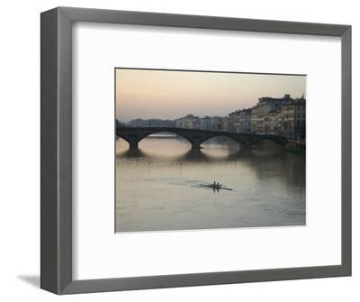Arno River and Rowers, Florence, Italy-Brimberg & Coulson-Framed Photographic Print