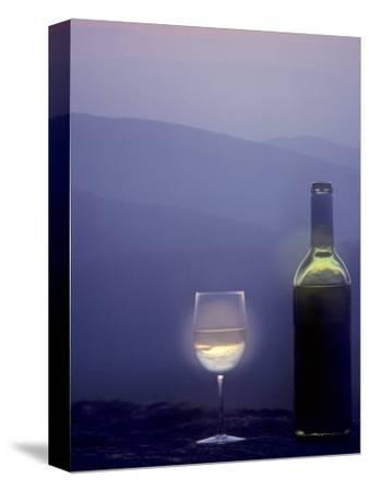 Bottle of Wine and Glass against a Scenic Background, Blue Ridge Mountains, Virginia-Kenneth Garrett-Stretched Canvas Print