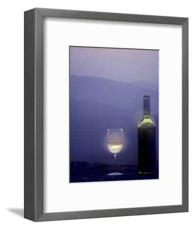 Bottle of Wine and Glass against a Scenic Background, Blue Ridge Mountains, Virginia-Kenneth Garrett-Framed Photographic Print