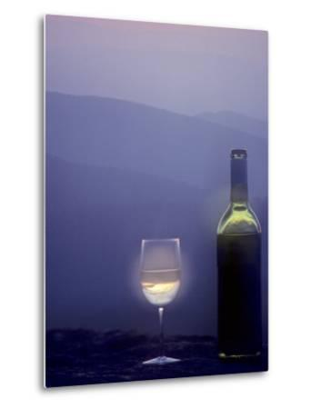 Bottle of Wine and Glass against a Scenic Background, Blue Ridge Mountains, Virginia-Kenneth Garrett-Metal Print
