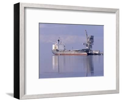 Cargo Tanker Ship Tied Up to a Jetty, Reflecting in the Calm Harbour, Australia-Jason Edwards-Framed Photographic Print