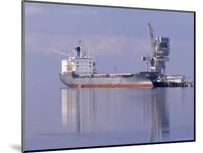 Cargo Tanker Ship Tied Up to a Jetty, Reflecting in the Calm Harbour, Australia-Jason Edwards-Mounted Photographic Print