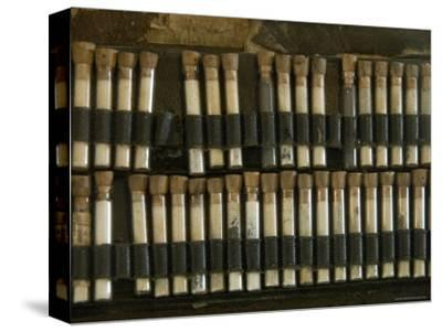 Close View of Test Tubes from an Antique Medical Bag, Stonington, Connecticut-Todd Gipstein-Stretched Canvas Print