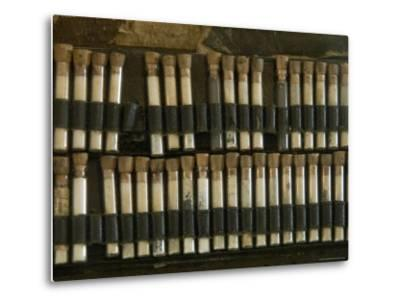 Close View of Test Tubes from an Antique Medical Bag, Stonington, Connecticut-Todd Gipstein-Metal Print