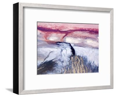 Colorful River Delta in Saline Lake Natron, Rift Valley, Tanzania-Michael Fay-Framed Photographic Print