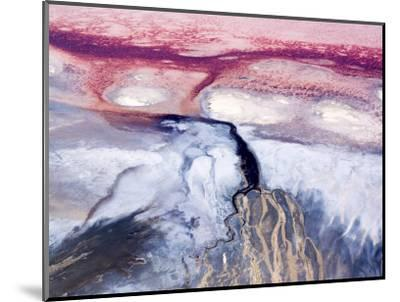 Colorful River Delta in Saline Lake Natron, Rift Valley, Tanzania-Michael Fay-Mounted Photographic Print