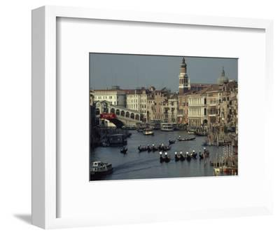 Boats Crowd the Grand Canal of Venice, Italy-James L^ Stanfield-Framed Photographic Print