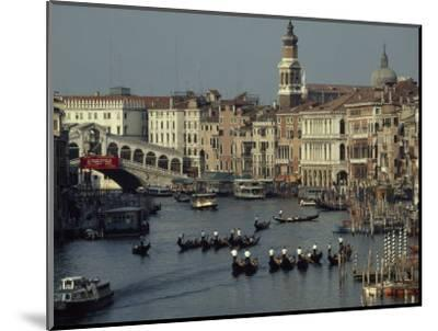 Boats Crowd the Grand Canal of Venice, Italy-James L^ Stanfield-Mounted Photographic Print