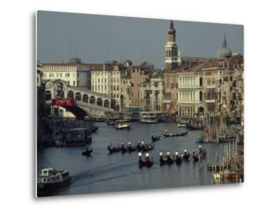 Boats Crowd the Grand Canal of Venice, Italy-James L^ Stanfield-Metal Print