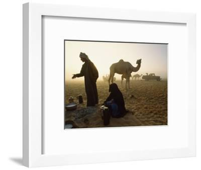 Bedouins Cooking on the Sand at their Camp at Sahamah, Oman-James L^ Stanfield-Framed Photographic Print