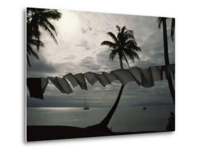 Buca Bay, Laundry and Palm Trees-James L^ Stanfield-Metal Print