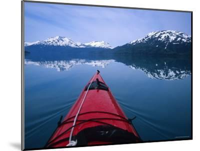 Exploring in a Sea Kayak a Calm Bay Off the Prince William Sound, Alaska-Bill Hatcher-Mounted Photographic Print
