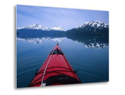 Exploring in a Sea Kayak a Calm Bay Off the Prince William Sound, Alaska-Bill Hatcher-Metal Print