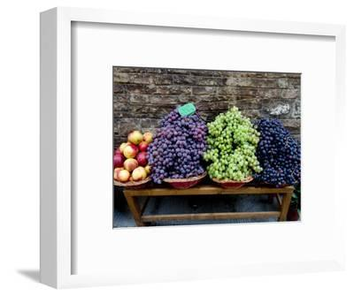 Grapes and Nectarines on a Bench at a Siena Market, Tuscany, Italy-Todd Gipstein-Framed Photographic Print