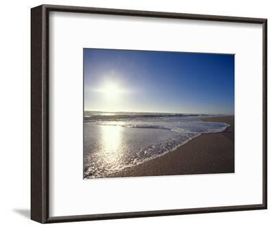 Gentle Waves Lap Onto a Pristine Sandy Beach with the Sun Reflecting, Australia-Jason Edwards-Framed Photographic Print
