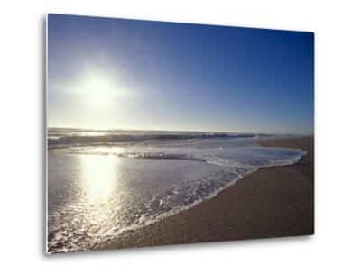 Gentle Waves Lap Onto a Pristine Sandy Beach with the Sun Reflecting, Australia-Jason Edwards-Metal Print