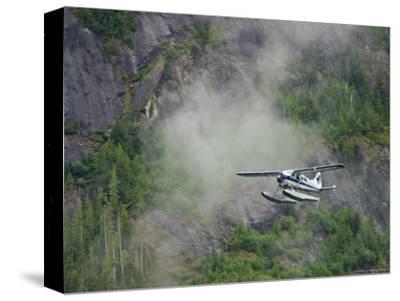 Float Plane against Granite Cliff, Alaska-Ralph Lee Hopkins-Stretched Canvas Print