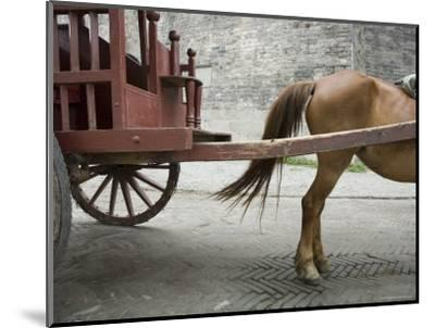Horse Pulling a Cart in Jingzhou, China-David Evans-Mounted Photographic Print