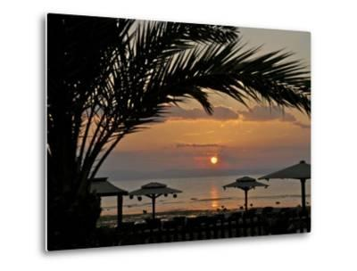 Dahab, Egypt, Middle East:Silhouette of Palm Tree over the Sunset-Brimberg & Coulson-Metal Print