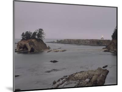 Distant View of the Cape Arago Lighthouse, Oregon-Phil Schermeister-Mounted Photographic Print