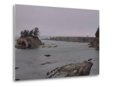 Distant View of the Cape Arago Lighthouse, Oregon-Phil Schermeister-Metal Print