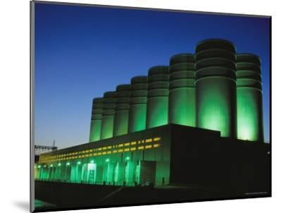 Illuminated View of the Power Plant at Dusk-Mark Thiessen-Mounted Photographic Print