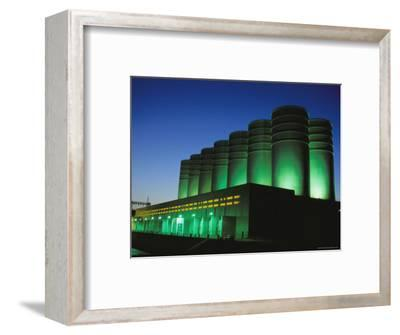 Illuminated View of the Power Plant at Dusk-Mark Thiessen-Framed Photographic Print
