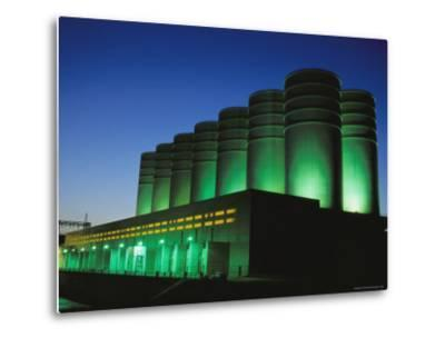 Illuminated View of the Power Plant at Dusk-Mark Thiessen-Metal Print