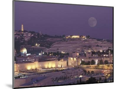 Moon over the Dome of the Rock and Mount Olives in Jerusalem, Israel-Richard Nowitz-Mounted Photographic Print