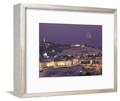 Moon over the Dome of the Rock and Mount Olives in Jerusalem, Israel-Richard Nowitz-Framed Photographic Print
