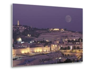 Moon over the Dome of the Rock and Mount Olives in Jerusalem, Israel-Richard Nowitz-Metal Print