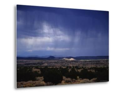 Rain Pores Down on the Desert Landscape in New Mexico-Stacy Gold-Metal Print