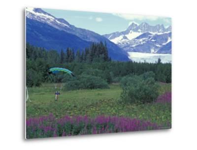 Paraglider Landing in a Field near the Mendenhall Glacier, Alaska-Rich Reid-Metal Print