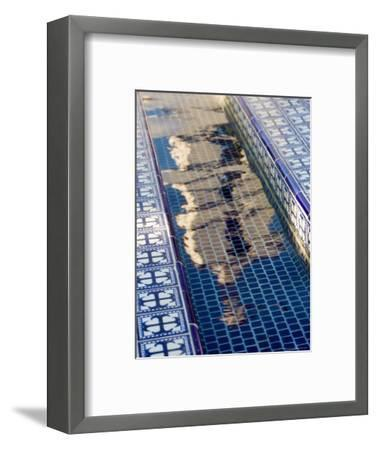 Reflection of the Mission San Buenaventura in Pool with Spanish Tiles, California-Michael S^ Lewis-Framed Photographic Print