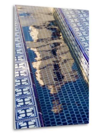 Reflection of the Mission San Buenaventura in Pool with Spanish Tiles, California-Michael S^ Lewis-Metal Print