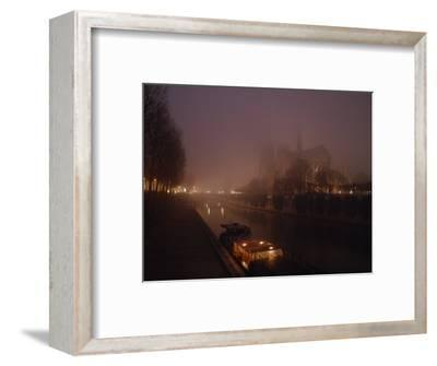 Night View Across the Seine Towards Notre Dame and the Ile de la Cite, Paris, France-James L^ Stanfield-Framed Photographic Print