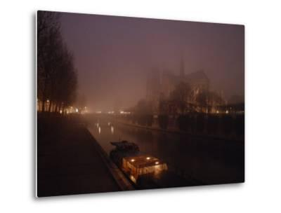 Night View Across the Seine Towards Notre Dame and the Ile de la Cite, Paris, France-James L^ Stanfield-Metal Print