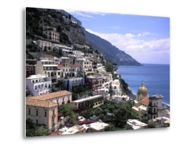 The Beach and City of Positino on the Amalfi Coast in Italy-Richard Nowitz-Metal Print