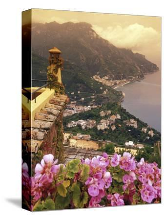 Sea and Flowers from Hotel Polumbo in Ravello, Italy-Richard Nowitz-Stretched Canvas Print