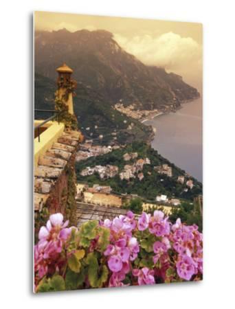 Sea and Flowers from Hotel Polumbo in Ravello, Italy-Richard Nowitz-Metal Print
