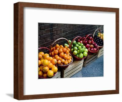 Six Baskets of Assorted Fresh Fruit for Sale at a Siena Market, Tuscany, Italy-Todd Gipstein-Framed Photographic Print