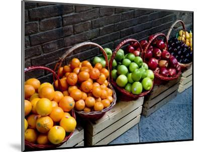 Six Baskets of Assorted Fresh Fruit for Sale at a Siena Market, Tuscany, Italy-Todd Gipstein-Mounted Photographic Print