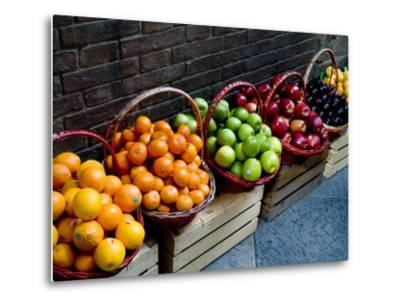 Six Baskets of Assorted Fresh Fruit for Sale at a Siena Market, Tuscany, Italy-Todd Gipstein-Metal Print