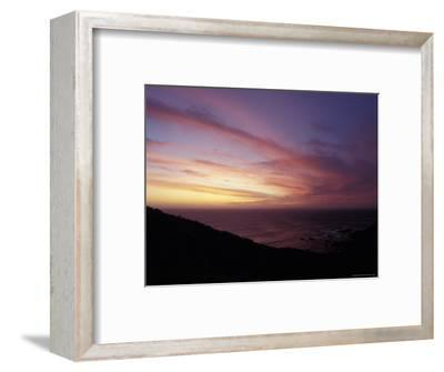 Sunset Reflects Off a Cloud Band Passing over a Rugged Coastline, Australia-Jason Edwards-Framed Photographic Print