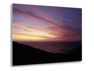 Sunset Reflects Off a Cloud Band Passing over a Rugged Coastline, Australia-Jason Edwards-Metal Print