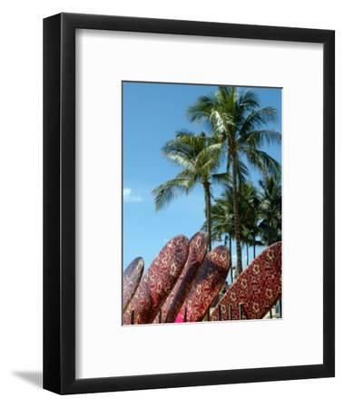 Surfboards for Rent on Waikiki Beach, Oahu, Hawaii-Stacy Gold-Framed Photographic Print