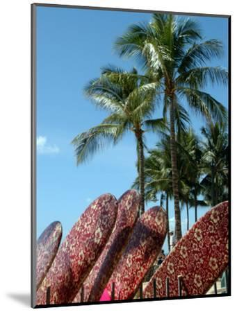 Surfboards for Rent on Waikiki Beach, Oahu, Hawaii-Stacy Gold-Mounted Photographic Print