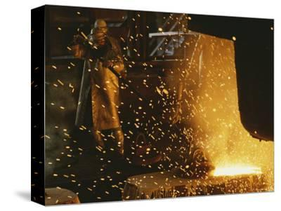 Sparks Fly from a Steel Furnace, Utah-James P^ Blair-Stretched Canvas Print