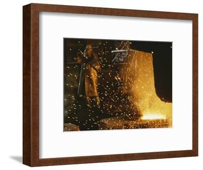 Sparks Fly from a Steel Furnace, Utah-James P^ Blair-Framed Photographic Print